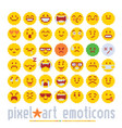 emoticon with various emotions cute faces pixel vector image vector image
