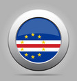 flag of cape verde shiny metal gray round button vector image vector image