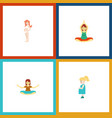 flat icon pregnancy set of yoga pregnancy vector image