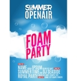 Foam Party summer Open Air Beach poster or flyer vector image vector image
