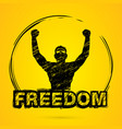 freedom man the winner graphic vector image vector image