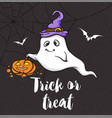 halloween greeting card with little ghost vector image