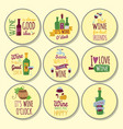Hand drawn natural badges and labels for wine