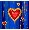 jewel heart blue vector image vector image