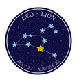 leo zodiac constellation in space round icon vector image
