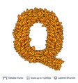 letter q sign of autumn leaves vector image