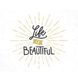 life is beautiful hand drawn lettering phrase vector image