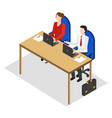 male and woman working one table in office vector image