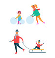 mom and child making snowman father carry sleigh vector image vector image