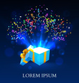 Open gift with fireworks from confetti vector image vector image