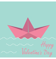 Origami paper boat Happy Valentines day card