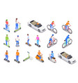 personal transport isometric icons set vector image vector image