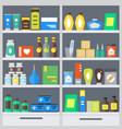 pharmacy shelves background vector image