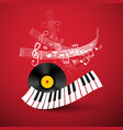 piano keyboard with lp vinyl record and staff on vector image vector image