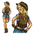 pin up cowgirl isolated vector image vector image