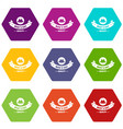 quality hat icons set 9 vector image vector image
