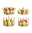 realistic crowns kings and queens golden royal vector image vector image