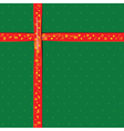 Red Ribbon on green color paper for Christmas vector image vector image