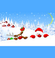 santa and reindeer against the backdrop of forest vector image vector image