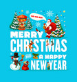 santa snowman with christmas tree and gifts vector image vector image
