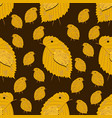 seamless pattern with chickens made yellow vector image