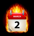 second march in calendar burning icon on black vector image vector image