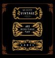 set badges ornament carving art nouveau style vector image