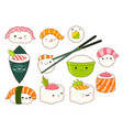 set of cute sushi and rolls icons in kawaii style vector image