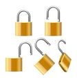 Set of Padlocks Open and Closed vector image
