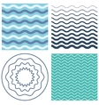 Set wave pattern and wavy circle vector image vector image