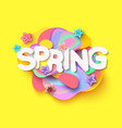 spring background with paper cut flowers and vector image vector image
