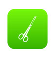 steel scissors icon digital green vector image