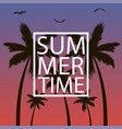 summer time - card with palm trees gull and frame vector image vector image