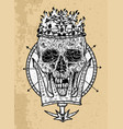 textured black and white scary skull vector image vector image