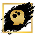 thinking head sign golden icon at black vector image vector image
