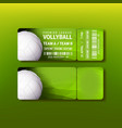 ticket on premier league of volleyball vector image vector image