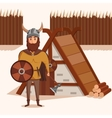 Viking with helmet horns and axe shield near vector image vector image