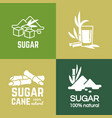 white sugar labels logo design cane and vector image vector image