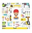 Construction equipment tools flat icons set vector image
