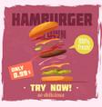 fresh hamburger poster vector image