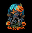 a pumpkin-headed human walks on lonely and dark vector image vector image