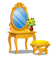 a vintage table for cosmetics stool and a mirror vector image vector image