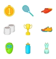 Active tennis icons set cartoon style vector image vector image