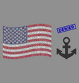 american flag mosaic anchor and distress denied vector image vector image