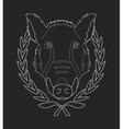 Boar head chalk contour vector image vector image