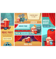 cartoon cinema banner movie night tickets vector image vector image