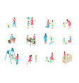 characters different nanny and children set 3d vector image vector image
