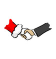 close-up handshake between businessman and santa vector image vector image