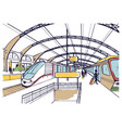 colorful sketch with railway station hand drawn vector image