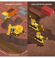 Construction Machinery Isometric Vertical Banners vector image vector image